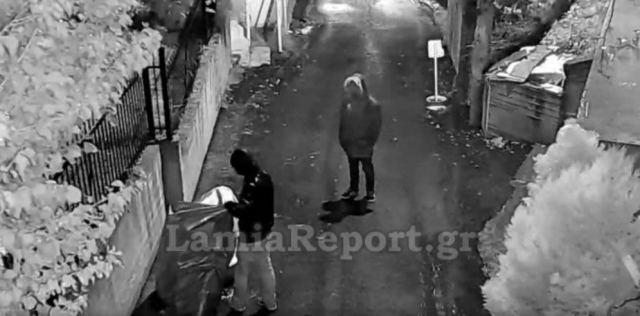Λαμία: Η κάμερα κατέγραψε του επίδοξους κλέφτες - ΒΙΝΤΕΟ