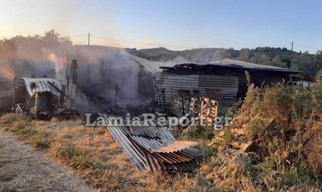 Φθιώτιδα: Παρανάλωμα έγινε μια στάνη στην περιοχή της Λοκρίδας (ΦΩΤΟ)