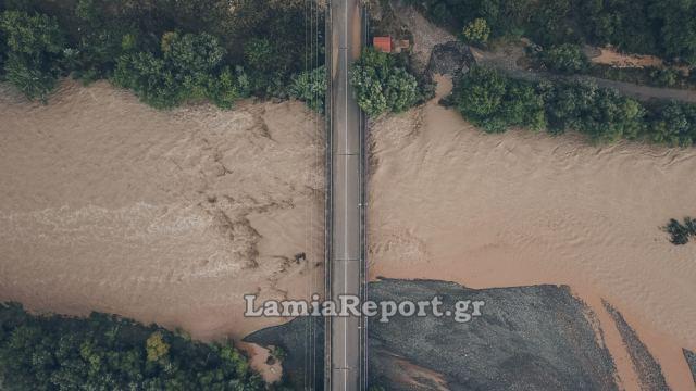 Ο πλημμυρισμένος Σπερχειός από ψηλά - Βίντεο και Φώτο από drone